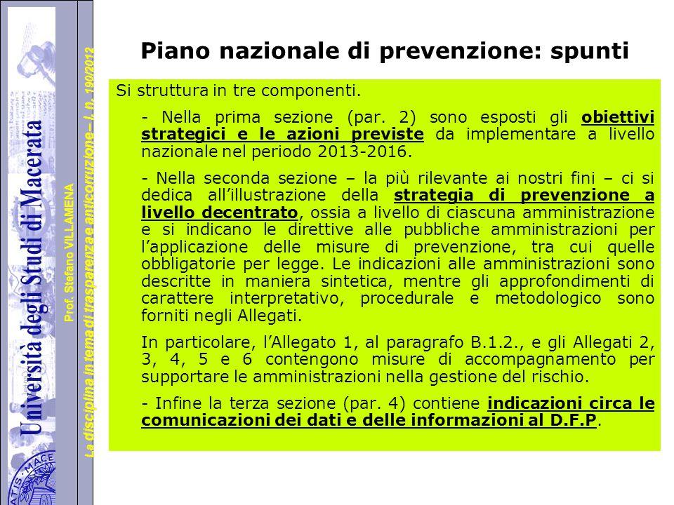Piano nazionale di prevenzione: spunti