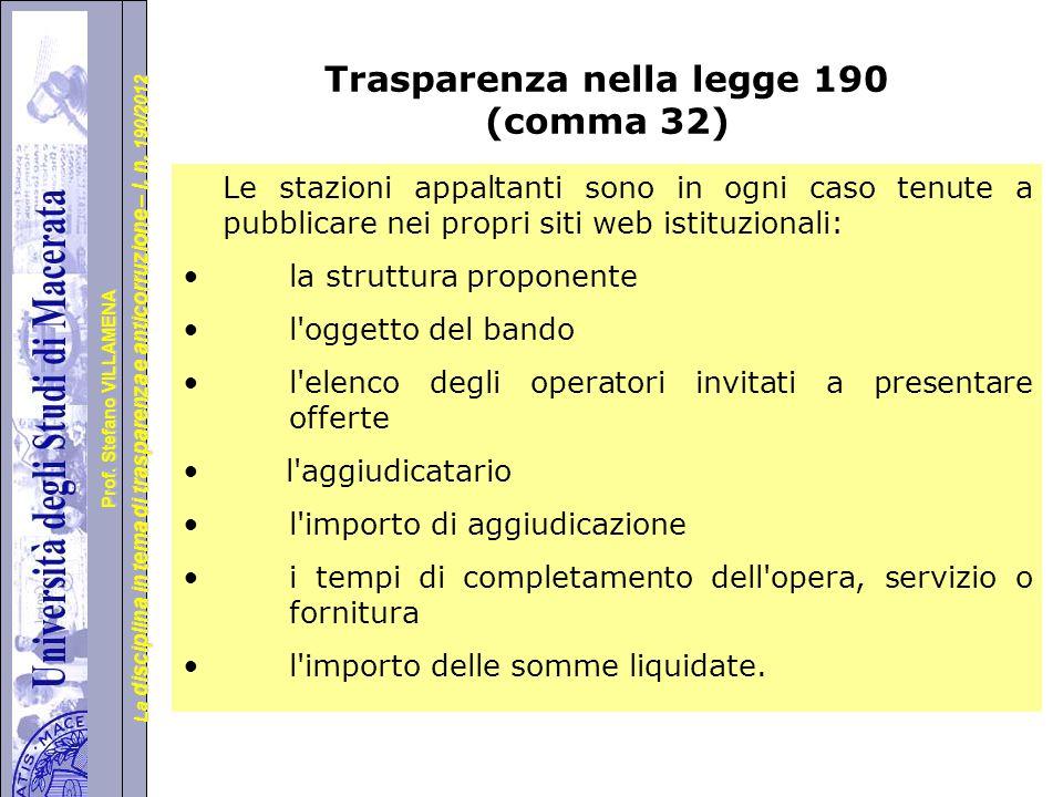 Trasparenza nella legge 190 (comma 32)