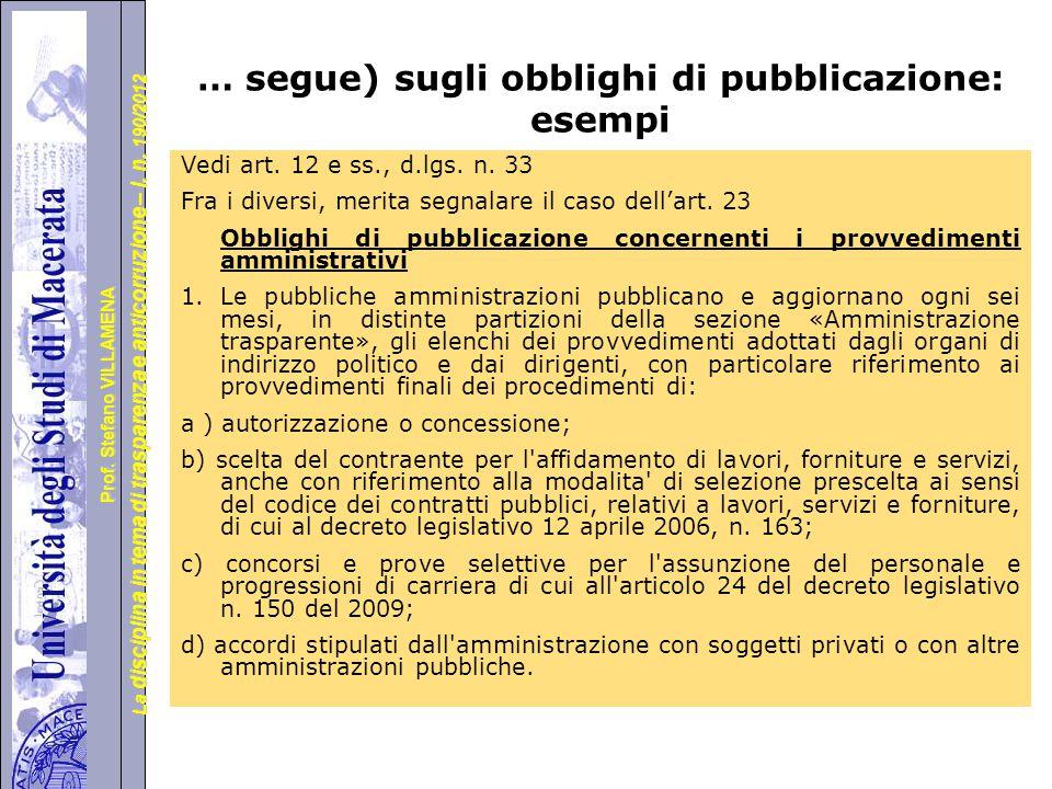 … segue) sugli obblighi di pubblicazione: esempi