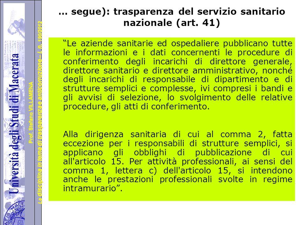 … segue): trasparenza del servizio sanitario nazionale (art. 41)
