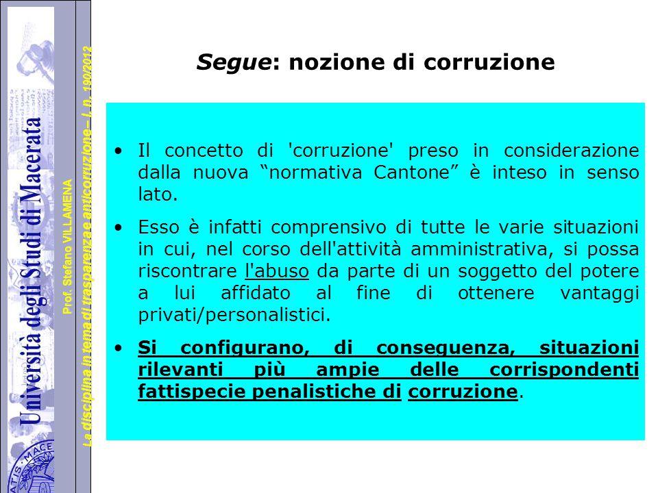 Segue: nozione di corruzione