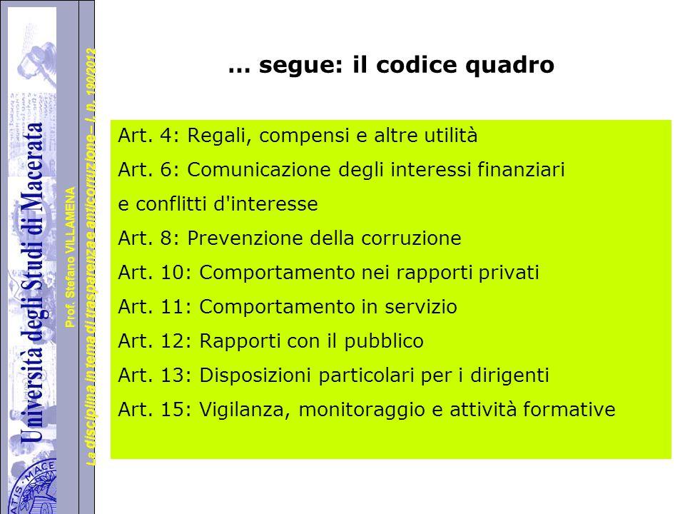 … segue: il codice quadro