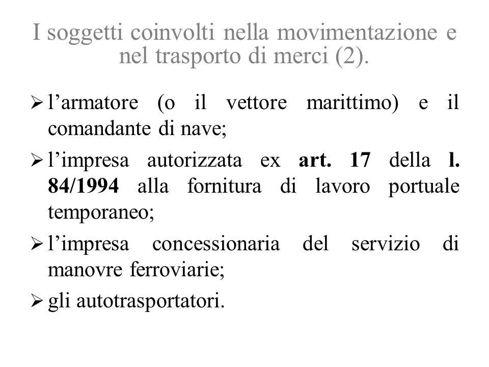I soggetti coinvolti nella movimentazione e nel trasporto di merci (2).