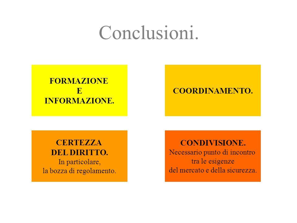 Conclusioni. FORMAZIONE E INFORMAZIONE. COORDINAMENTO. CERTEZZA