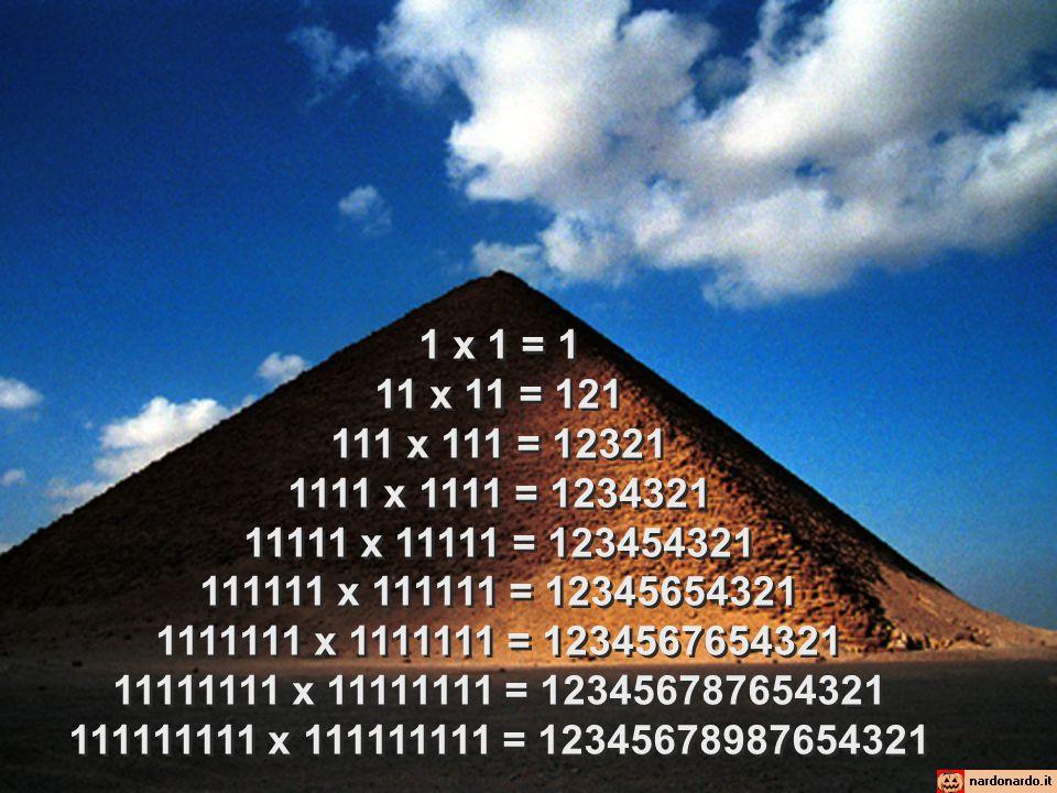 1 x 1 = 1 11 x 11 = 121 111 x 111 = 12321 1111 x 1111 = 1234321 11111 x 11111 = 123454321 111111 x 111111 = 12345654321 1111111 x 1111111 = 1234567654321 11111111 x 11111111 = 123456787654321 111111111 x 111111111 = 12345678987654321