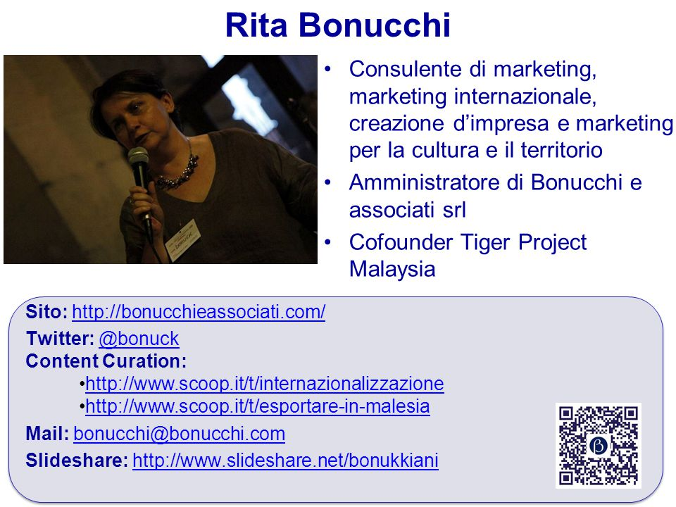 Rita Bonucchi Consulente di marketing, marketing internazionale, creazione d'impresa e marketing per la cultura e il territorio.