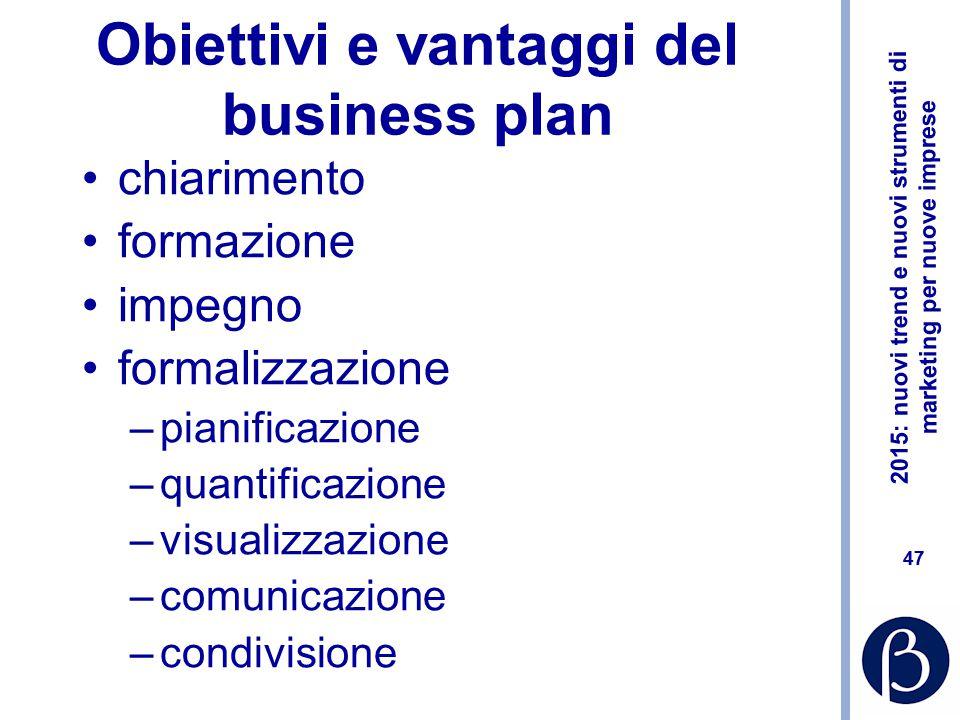 Obiettivi e vantaggi del business plan