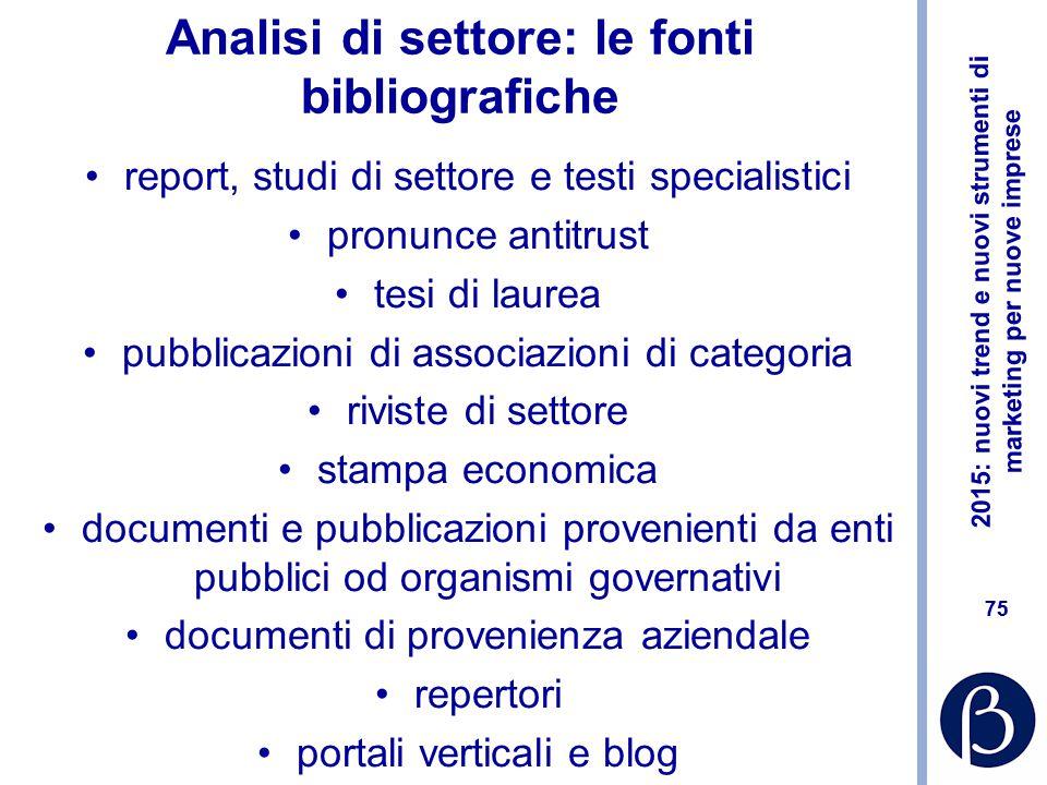 Analisi di settore: le fonti bibliografiche