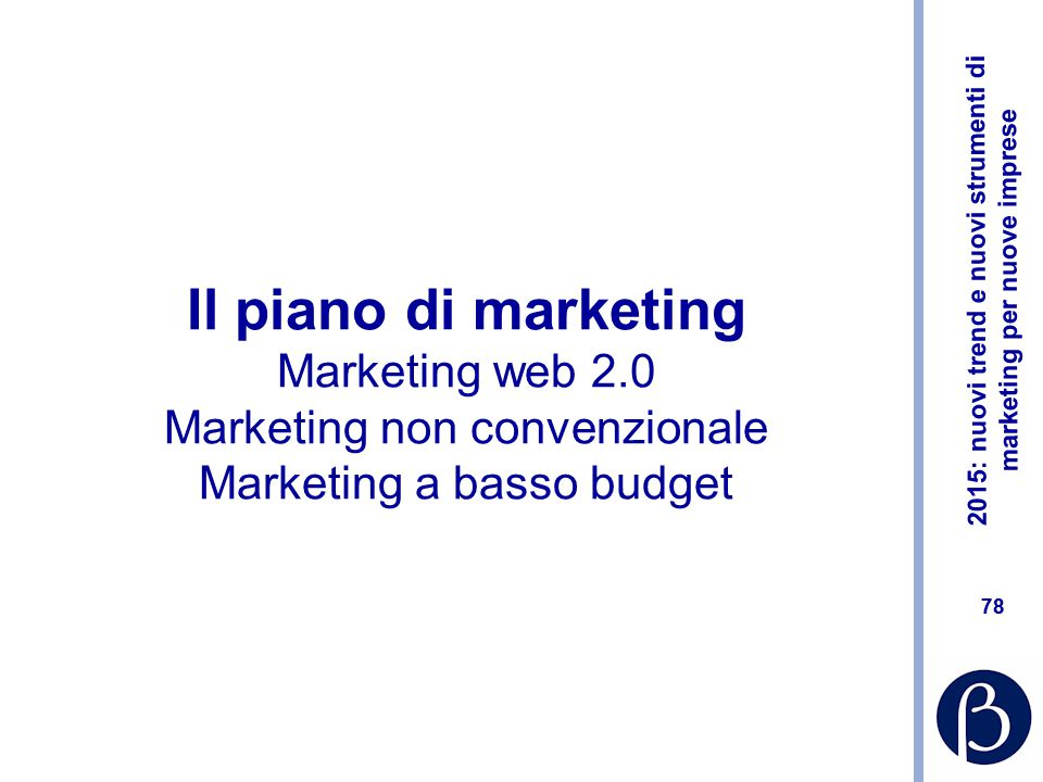 Il piano di marketing Marketing web 2