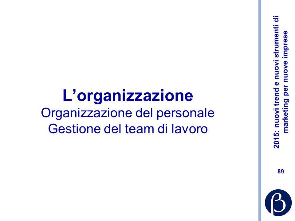 L'organizzazione Organizzazione del personale Gestione del team di lavoro