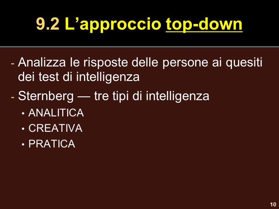 9.2 L'approccio top-down Analizza le risposte delle persone ai quesiti dei test di intelligenza. Sternberg — tre tipi di intelligenza.