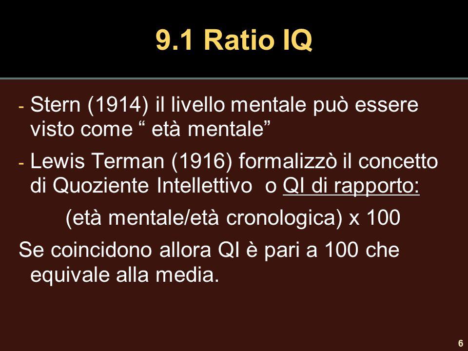 9.1 Ratio IQ Stern (1914) il livello mentale può essere visto come età mentale