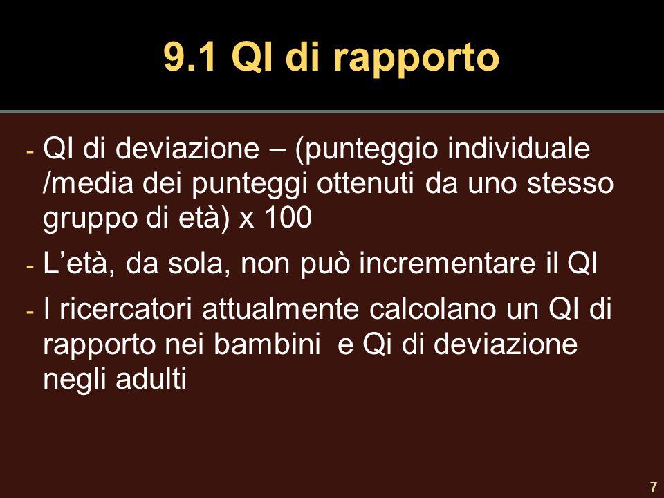 9.1 QI di rapporto QI di deviazione – (punteggio individuale /media dei punteggi ottenuti da uno stesso gruppo di età) x 100.