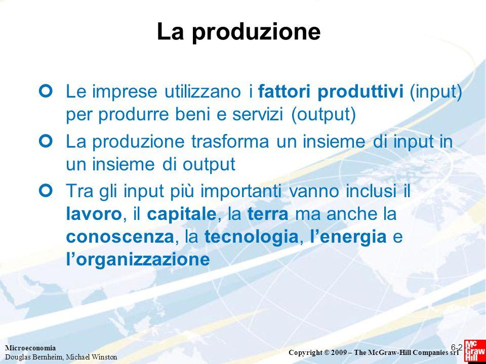 La produzione Le imprese utilizzano i fattori produttivi (input) per produrre beni e servizi (output)