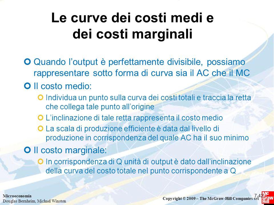 Le curve dei costi medi e dei costi marginali