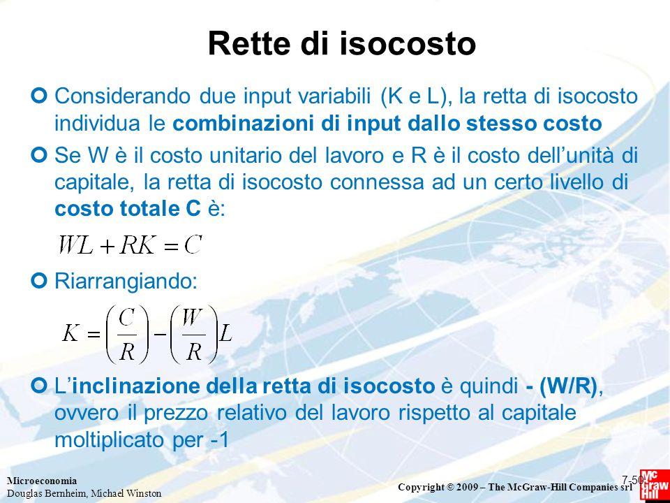 Rette di isocosto Considerando due input variabili (K e L), la retta di isocosto individua le combinazioni di input dallo stesso costo.