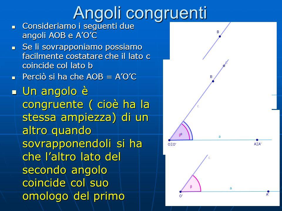 Angoli congruenti Consideriamo i seguenti due angoli AOB e A'O'C.