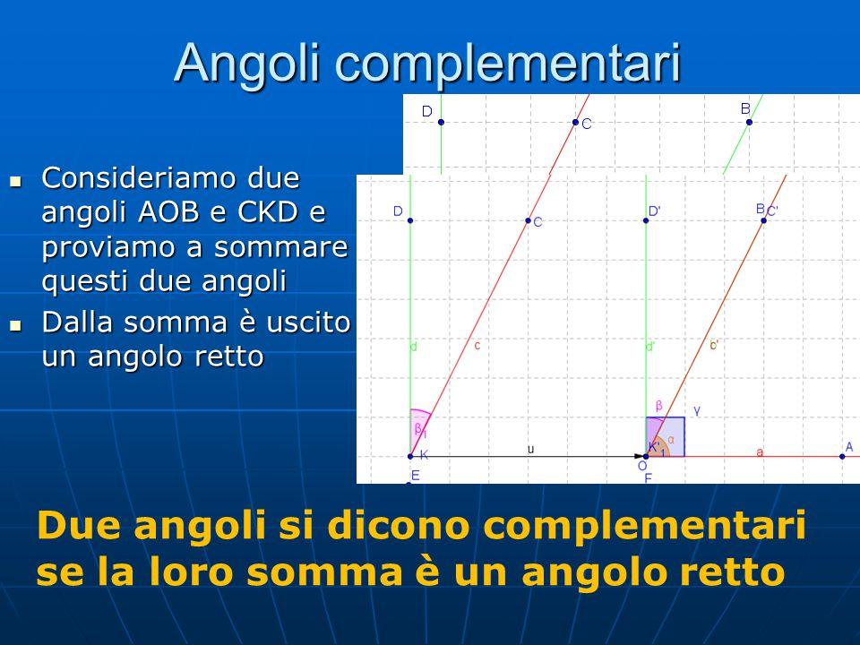 Angoli complementari Consideriamo due angoli AOB e CKD e proviamo a sommare questi due angoli. Dalla somma è uscito un angolo retto.