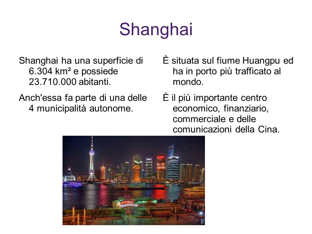 Shanghai Shanghai ha una superficie di 6.304 km² e possiede 23.710.000 abitanti. Anch essa fa parte di una delle 4 municipalità autonome.