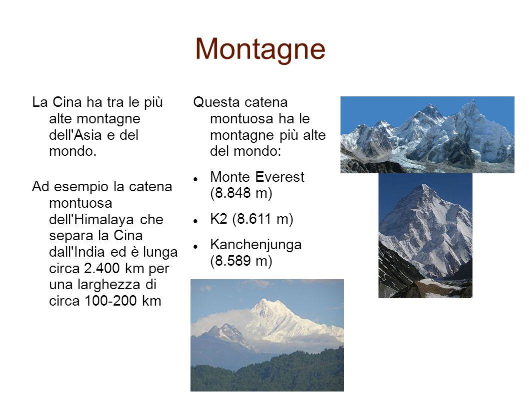 Montagne La Cina ha tra le più alte montagne dell Asia e del mondo.