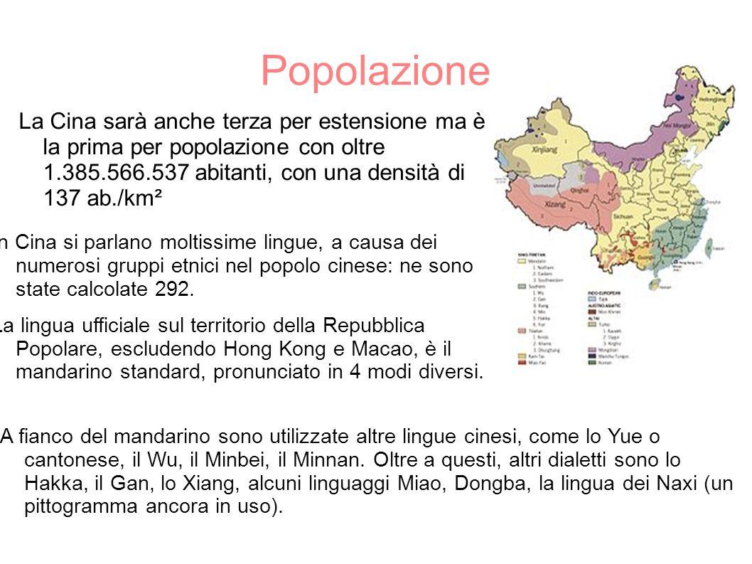 Popolazione La Cina sarà anche terza per estensione ma è la prima per popolazione con oltre 1.385.566.537 abitanti, con una densità di 137 ab./km².