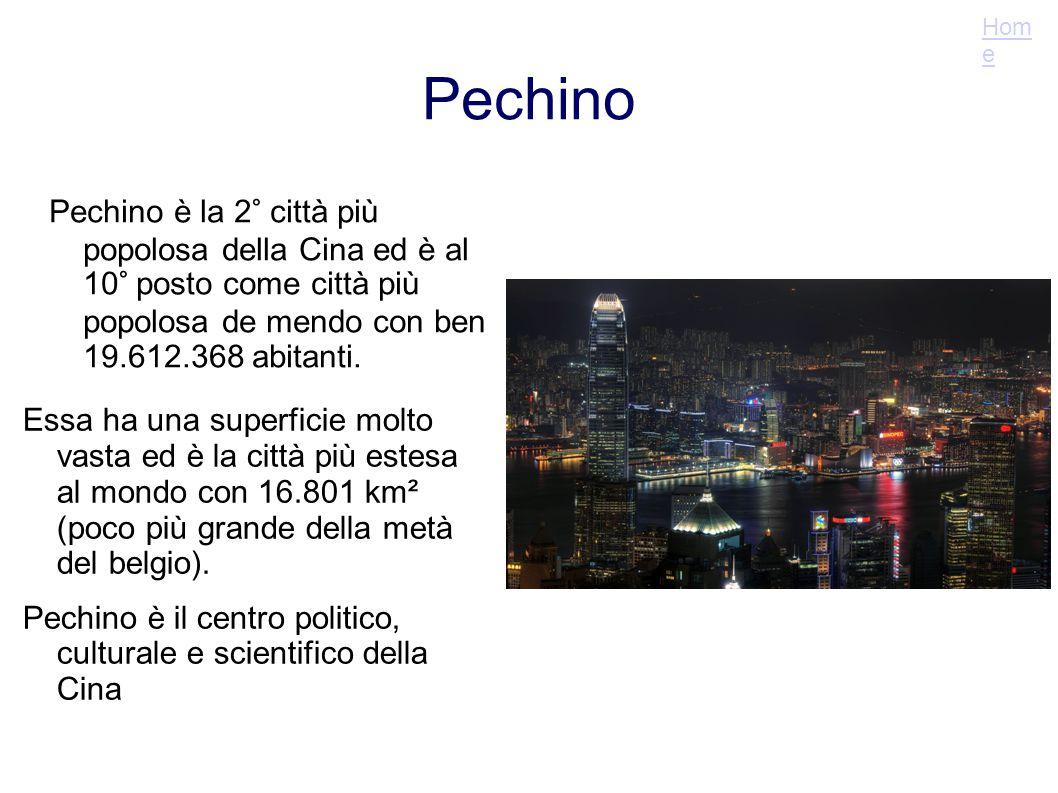 Home Pechino. Pechino è la 2° città più popolosa della Cina ed è al 10° posto come città più popolosa de mendo con ben 19.612.368 abitanti.