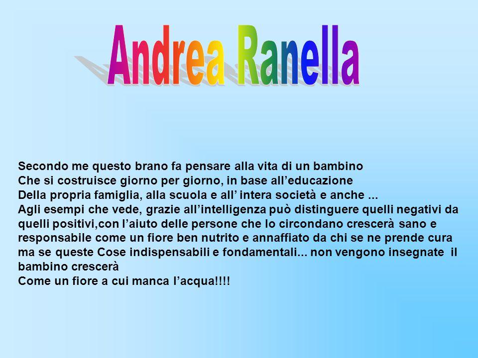 Andrea Ranella Secondo me questo brano fa pensare alla vita di un bambino. Che si costruisce giorno per giorno, in base all'educazione.