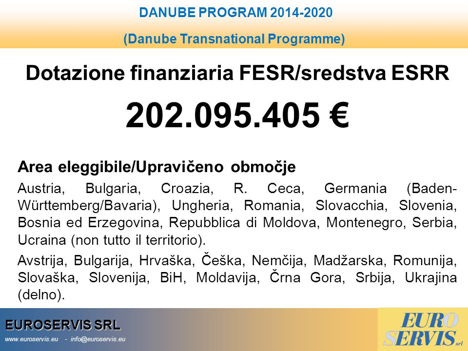 202.095.405 € Dotazione finanziaria FESR/sredstva ESRR
