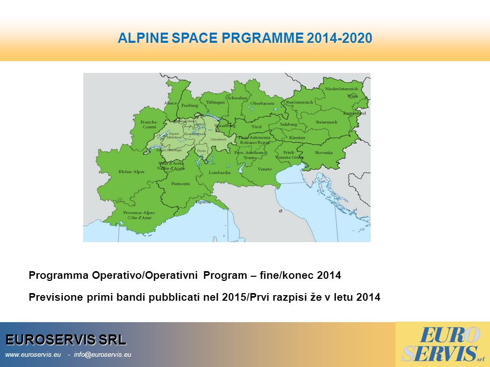 ALPINE SPACE PRGRAMME 2014-2020