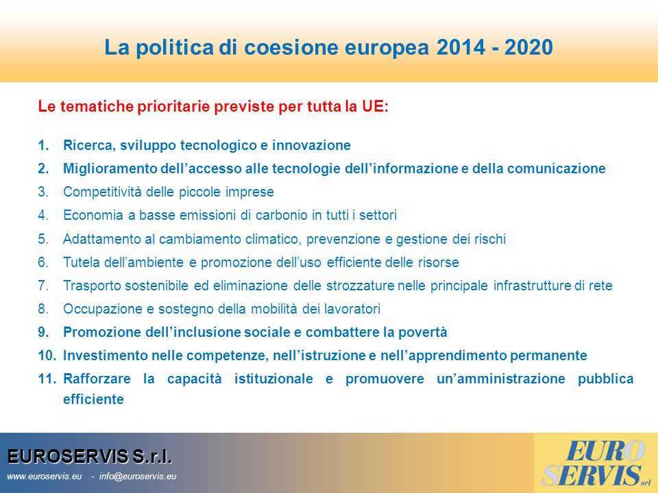 La politica di coesione europea 2014 - 2020
