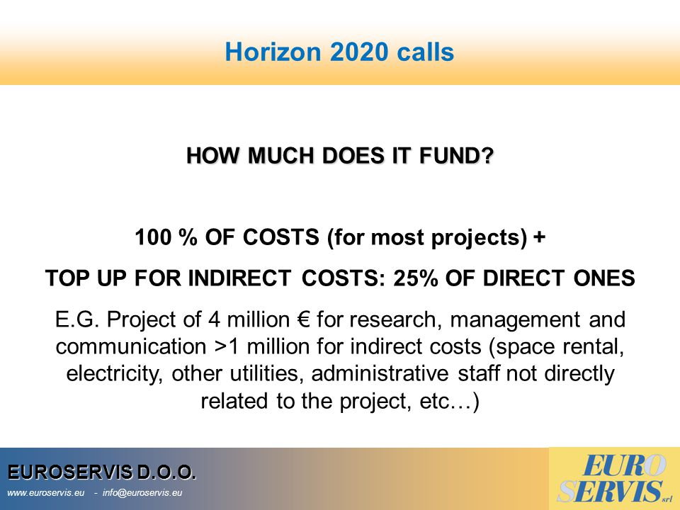 Horizon 2020 calls HOW MUCH DOES IT FUND
