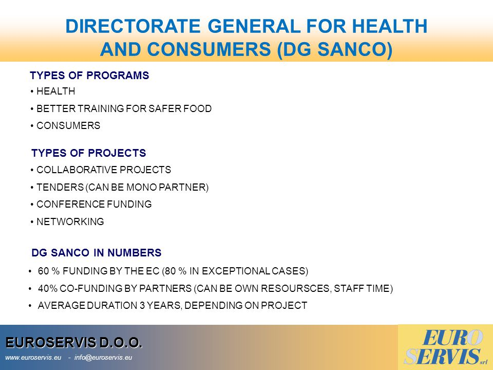 DIRECTORATE GENERAL FOR HEALTH AND CONSUMERS (DG SANCO)