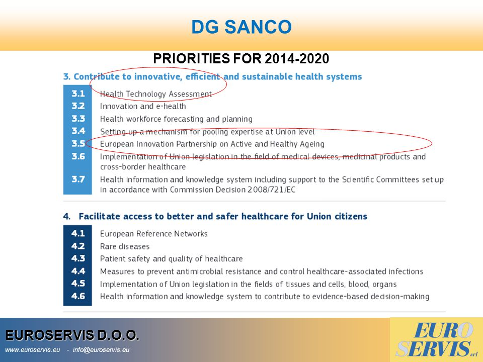 DG SANCO PRIORITIES FOR 2014-2020 EUROSERVIS D.O.O.