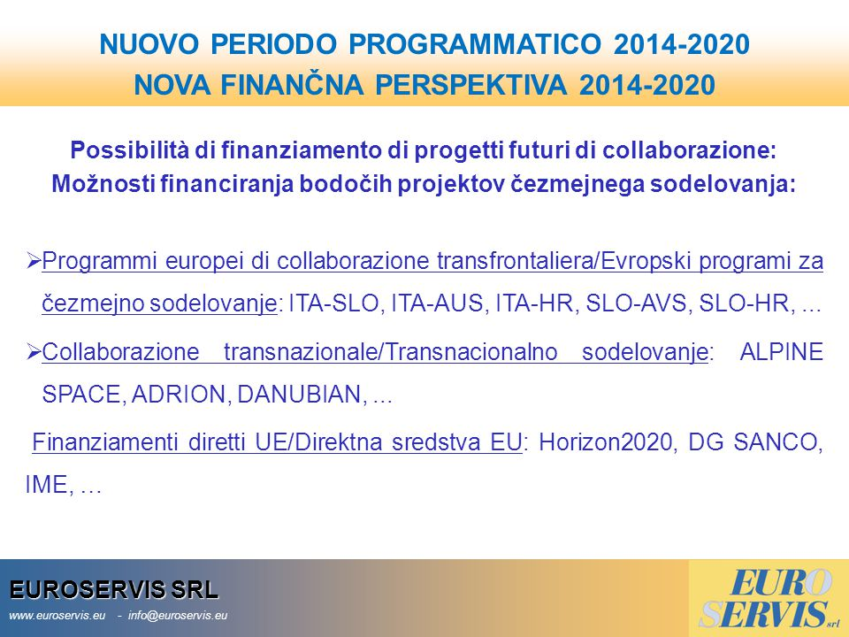 NUOVO PERIODO PROGRAMMATICO 2014-2020