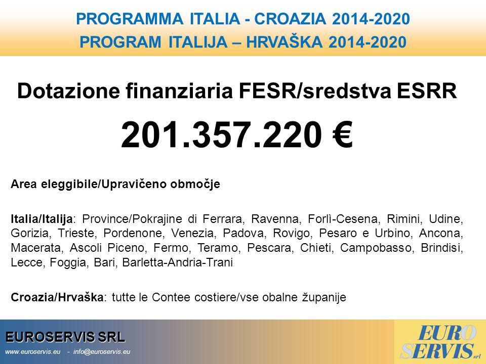 201.357.220 € Dotazione finanziaria FESR/sredstva ESRR