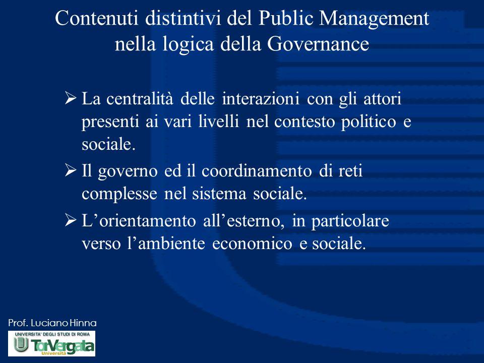 Contenuti distintivi del Public Management nella logica della Governance