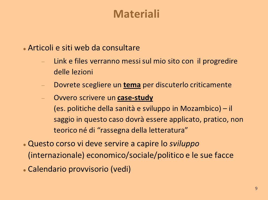 Materiali Articoli e siti web da consultare