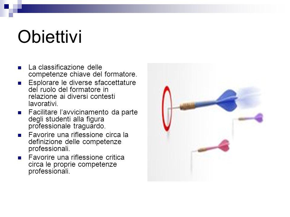 Obiettivi La classificazione delle competenze chiave del formatore.