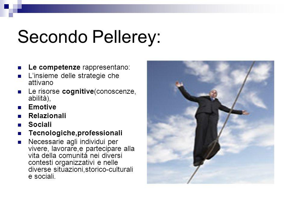 Secondo Pellerey: Le competenze rappresentano: