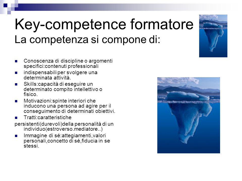 Key-competence formatore La competenza si compone di: