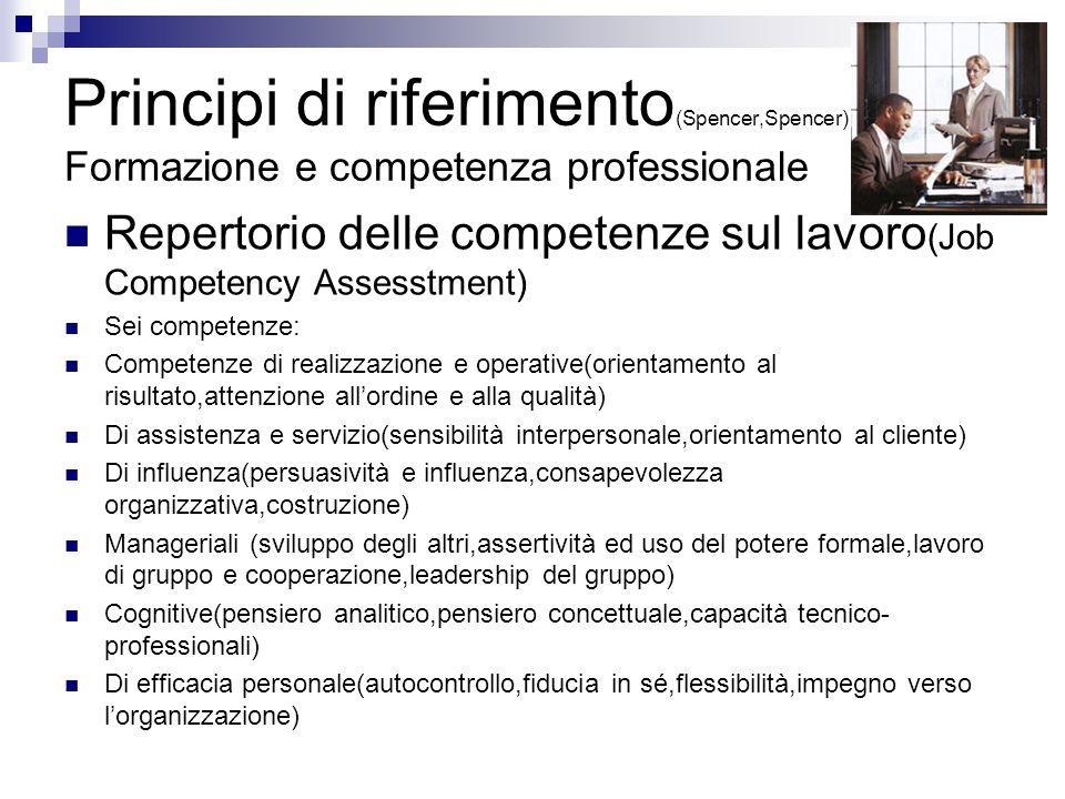 Principi di riferimento(Spencer,Spencer) Formazione e competenza professionale