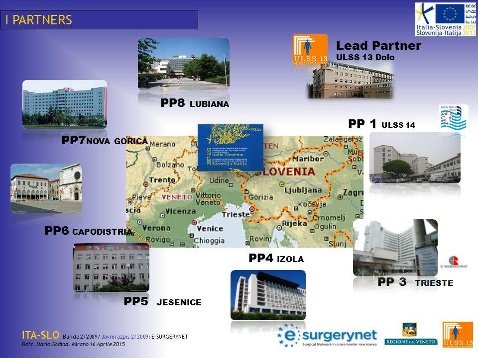 I PARTNERS Lead Partner PP8 LUBIANA PP 1 ULSS 14 PP7NOVA GORICA