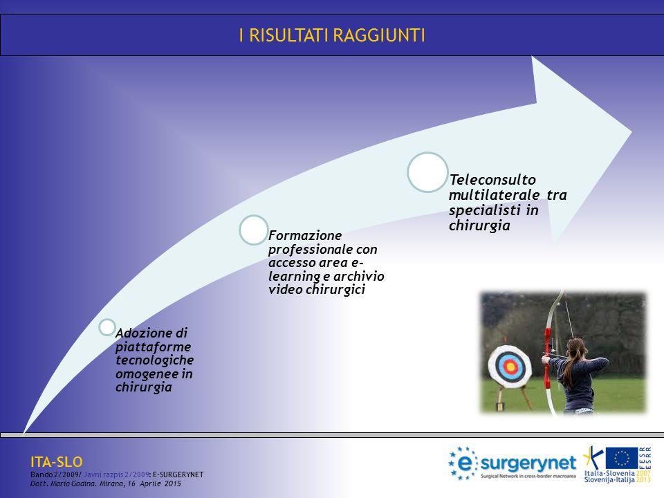 I RISULTATI RAGGIUNTI Adozione di piattaforme tecnologiche omogenee in chirurgia.