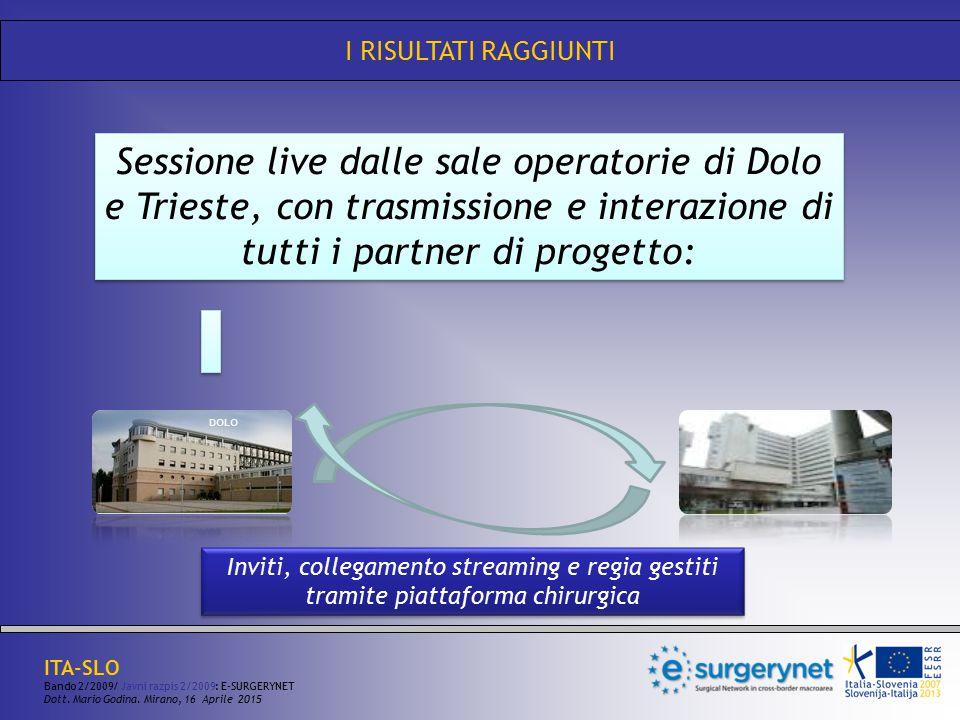 I RISULTATI RAGGIUNTI Sessione live dalle sale operatorie di Dolo e Trieste, con trasmissione e interazione di tutti i partner di progetto: