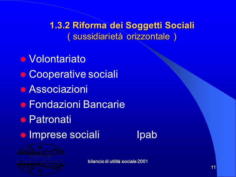 1.3.2 Riforma dei Soggetti Sociali ( sussidiarietà orizzontale )