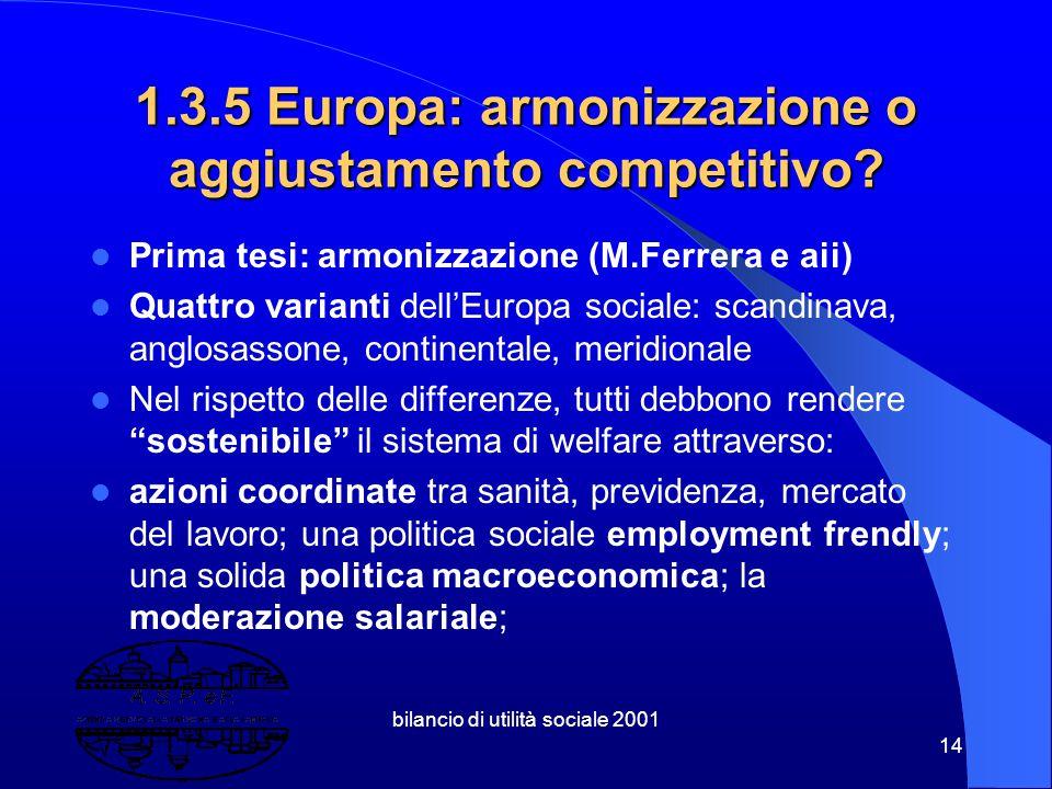 1.3.5 Europa: armonizzazione o aggiustamento competitivo
