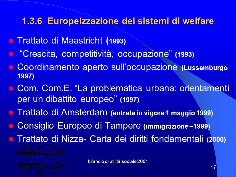 1.3.6 Europeizzazione dei sistemi di welfare