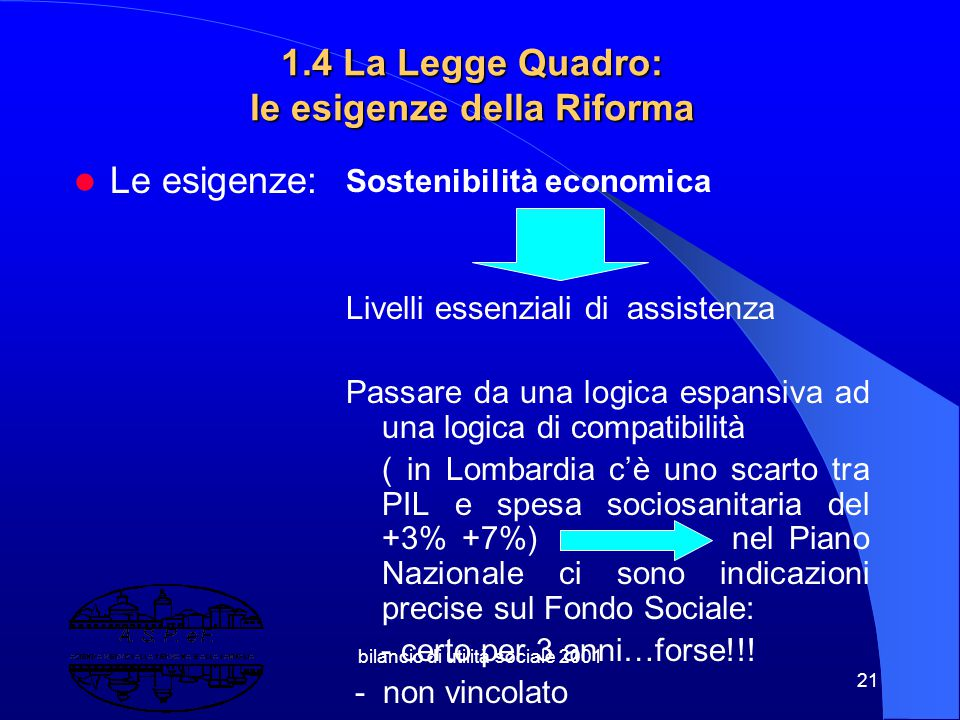 1.4 La Legge Quadro: le esigenze della Riforma