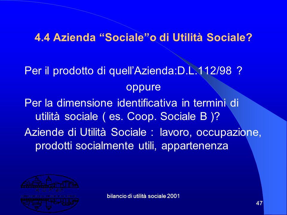 4.4 Azienda Sociale o di Utilità Sociale