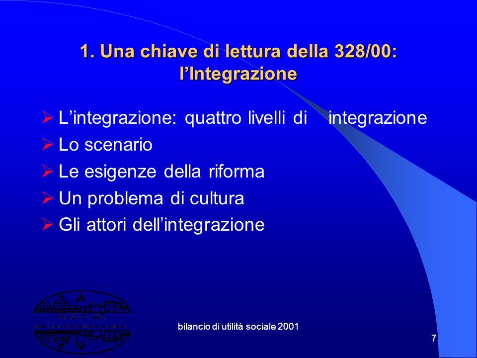 1. Una chiave di lettura della 328/00: l'Integrazione